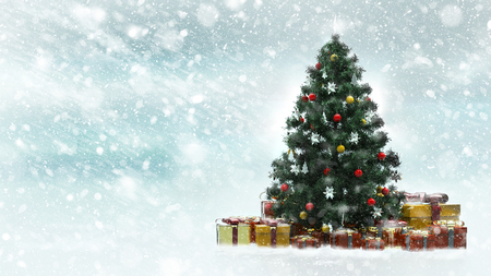 Beautiful decorated christmas tree with red and golden present boxes in a snowy winter landscape Фото со стока - 91973133