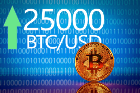 Bitcoin. Market bitcoin price record - twenty five thousand 25000 US dollars Stock Photo