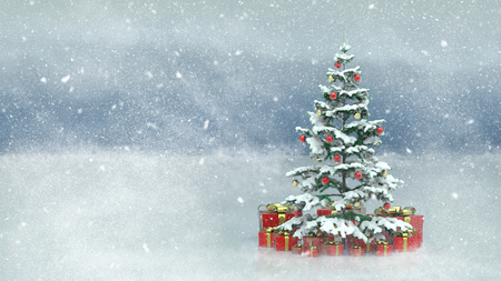 Beautiful decorated christmas tree with red present boxes in a snowy winter landscape Фото со стока - 92023507