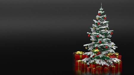 Beautiful decorated christmas tree with red present boxes in a black background