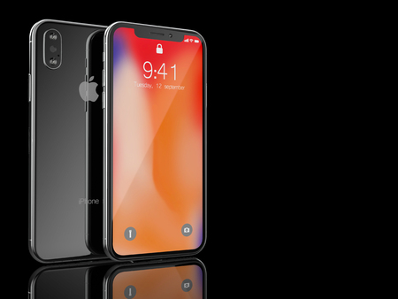 Ekaterinburg, Russia - 14 september: 3D Render of a black iPhone X with Apple Inc logo Illustrative Editorial Image, on a black background. Редакционное