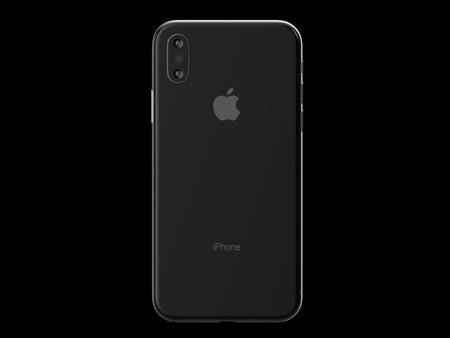 Ekaterinburg, Russia - 14 september: 3D Render of a black iPhone X with Apple Inc logo Illustrative Editorial Image, on a black background. Фото со стока - 96950209