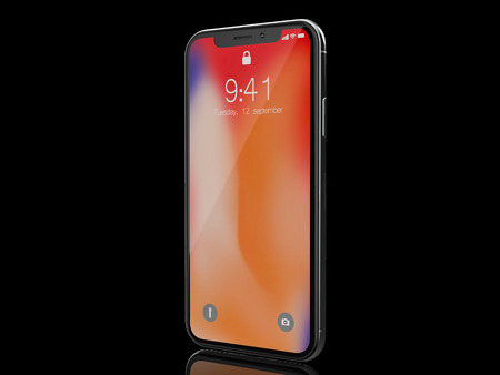 Ekaterinburg, Russia - 14 september: 3D Render of a black iPhone X Illustrative Editorial Image, on a black background.