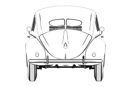 Sprot Car Wolksvagen Beetle Sketch. 3D Illustration.