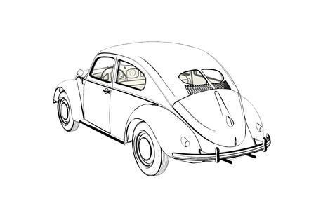 Sprot Car  Sketch. 3D Illustration. Stock Photo