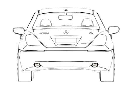 Luxury Car Acura RL Sketch. 3D Illustration.