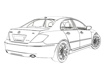 Luxury Car Acura RL Sketch. 3D Illustration. Фото со стока - 97715410