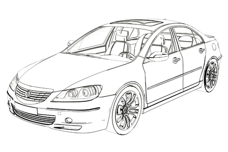 Luxury Car Acura RL Sketch. 3D Illustration. Фото со стока - 103594363