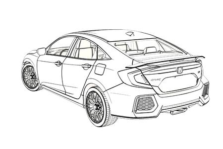 graphic Sketch. 3D Illustration.