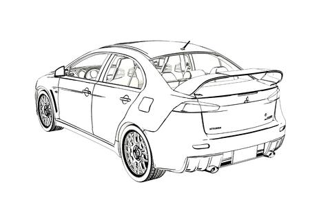 Sedan Mitsubishi Evolution X Sketch. 3D Illustration.