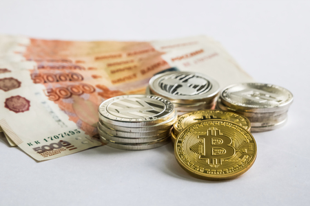 Silver Gold Crypto Coins litecoin LTC, bitcoin BTC, ripple XRP, dash . Russian ruble. Metal coins are laid out in a flat background, close-up view from the top, crypto currency exchange of money. Фото со стока - 104622075