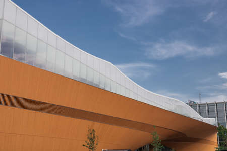 Helsinki, Finland - June 1, 2019: new Helsinki Central Library building - Oodi. Wooden architectural element of the facade. Editorial