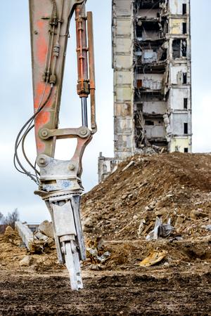 Closeup of hidraulic arm for building demolition