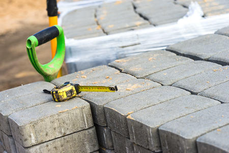 Concrete blocks prepared for the paving of a street