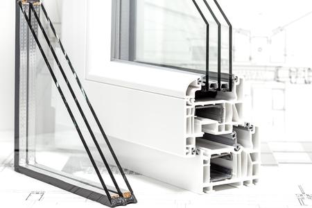 diseño de ventanas de pvc triple acristalamiento de sección transversal