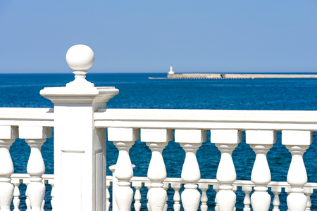 White stone railing, sea view