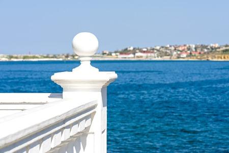 White stone railing sea view Archivio Fotografico