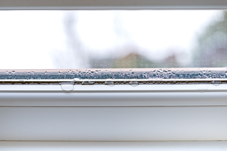 Condensation on glass closeup pvc windows double glazing