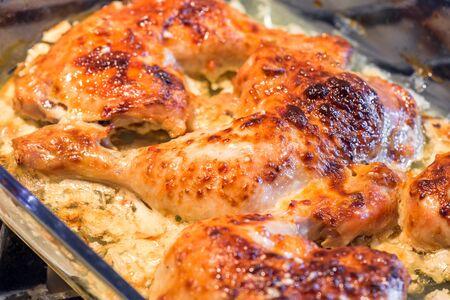 Oven roasted chicken legs garlic Mayonnaise Yogurt sauce. Archivio Fotografico