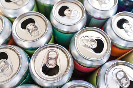 Empty aluminium soft drink, beer can closeup