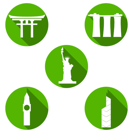 Set of vector travel icons. Modern flat symbols of famous sightseeings including Big Ben, Statue of Liberty, Japan Arch and Bank of China Ilustração