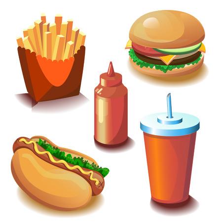 perro comiendo: Colecci�n de comida r�pida con cinco objetos vectoriales Vectores