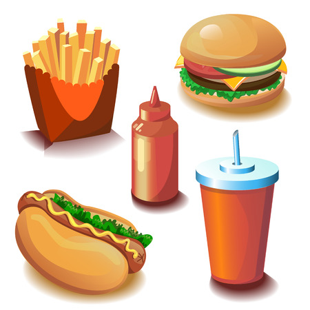 fat dog: Collection of fast food with five vector objects