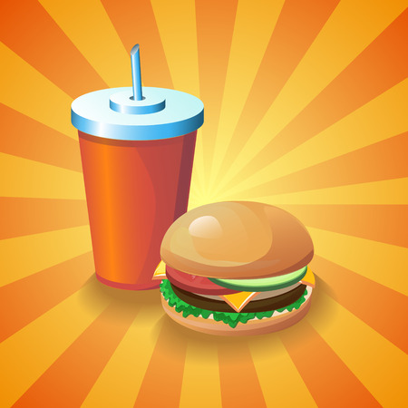 Colorful realistic 3d image with a glass of cola and american hot dog sandwich. Cartoon design element for a fast food restaurant and menu card. Modern poster template.