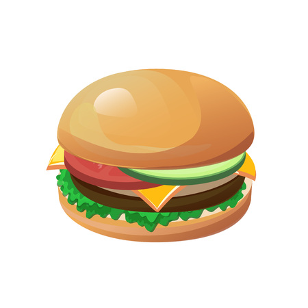american cuisine: Vector hamburger isolated on the white background. Design element for cafe and restaurant menu illustration, fast food poster or for logotype. 3d cartoon design of food.
