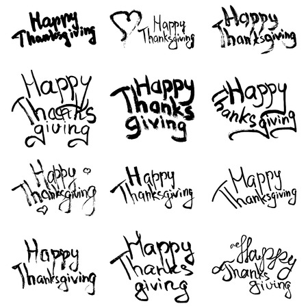 Hand drawn decorating typography on white background. Set of sketched design elements for window printing, making invitations, wall decor. Happy Thanksgiving vector phrase.