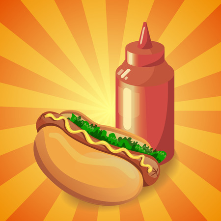 Realistic 3d image of ketchup and american hot dog sandwich with lettuce and mustard. Cartoon design element for a fast food restaurant and menu card. Poster template.