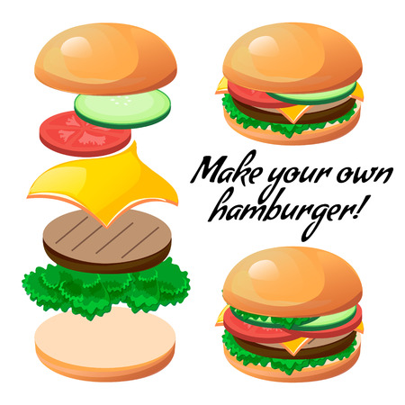 american cuisine: Tasty vector ingredients to make a custom burger. Design element for cafe and restaurant menu illustration, fast food poster or for logotype. 3d cartoon design of food. Information template banner.