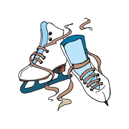 patinaje sobre hielo: El patinaje artístico elemento de diseño para su negocio. Vector del cartel con la figura patines aislados en el fondo blanco. Dibujado a mano ilustración para la impresión serigráfica. Vectores