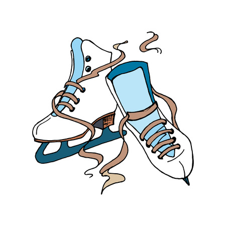 skating: Figure Skating design element for your business.  Vector poster with figure skates isolated on the white background.  Hand drawn illustration for screen printing.