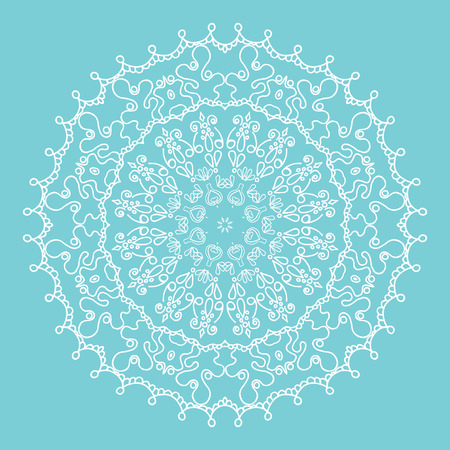 tiffany blue: Vector design element for a greeting cart or invitation. Winter concept with a knitted snowflake. Stylised christmas background.