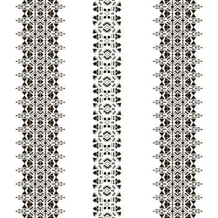 Vertical tribal seamless pattern isolated on the white background made in vector. Tribal vintage ethnic elements for clothing design or home decor. Oriental ornament, Mexican, Aztec and African collection of tribal art.