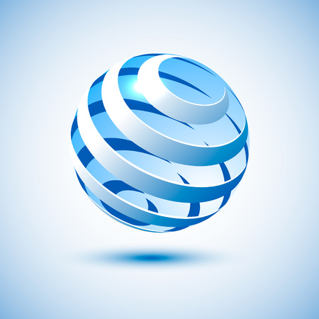 blue sphere: Blue ball icon for your web interface. Bright digital vector illustration. Spiral globe element for web-design.