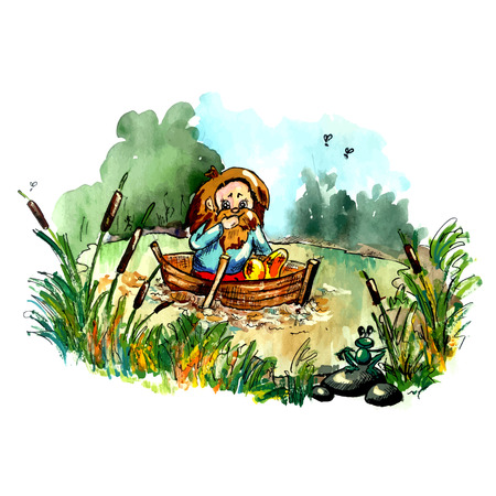 fairy  tail: Folklore creature on the boat. Bright cartoon style illustration for your fairy tail about dwarf, goblin, hobbit, troll. Imaginary bizarre creature. Illustration