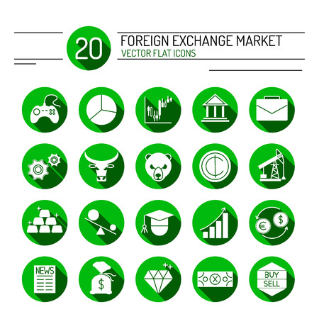 buy sell: 20 green financial icons collection in modern flat style. Easy editable elements for your web site interface. Perfect line icons set for forex broker.