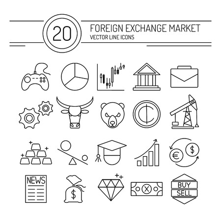 20 financial icons collection in modern flat style. Easy editable elements for your web site interface. Perfect line icons set for forex broker.