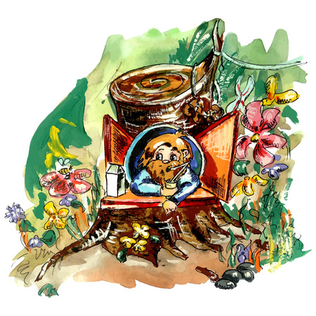 Forest character drinking milk and eating mushrooms. Imaginary creature living in the stub. Bright vector illustration for a children's book about hobbit, gnome, dwarf, troll, hobgoblin. Illustration