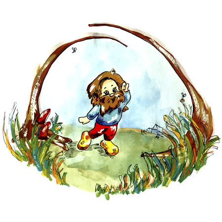 Imaginary character illustration for a fary tale. Vector folcklore creautere in cartoon style for children. Hobbit, troll, gnome, hobgoblin.