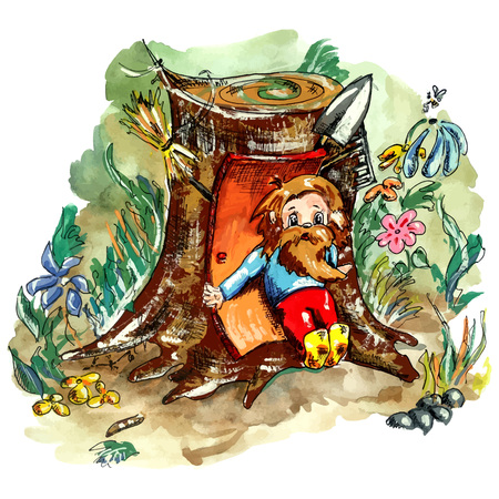 The folclore creature scared of work. Cute doodle hobbit, living in the forest among bees, flowers and stones.