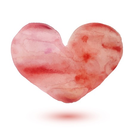 Watercolor painted red heart with a shadow, vector element for your design. Romantic illustration. Illustration