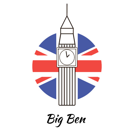 english famous: English famous sightseeing Big Ben. Branding identity element, vector logo design concept. Isolated high quality vector graphic.