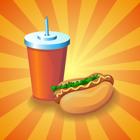 american cuisine: Colorful realistic 3d image with a glass of cola and american hot dog sandwich. Cartoon design element for a fast food restaurant and menu card. Modern poster template.