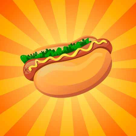 Realistic 3d image of american hot dog sandwich with lettuce and mustard. Cartoon design element for a fast food restaurant and menu card. Poster template. Illustration