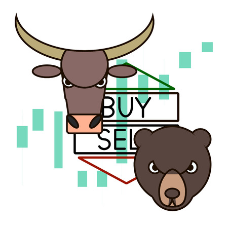 candlestick: Bull and bear with red and green arrows made in modern line style. Buy and Sell stock trend with chart on the background. Financial element design for a web-site. Illustration