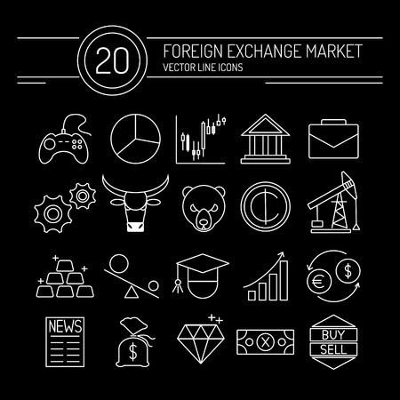 bourse: 20 financial icons collection in modern flat style. White line icons on a black background. Easy editable elements for your web site interface. Perfect line icons set for forex broker.