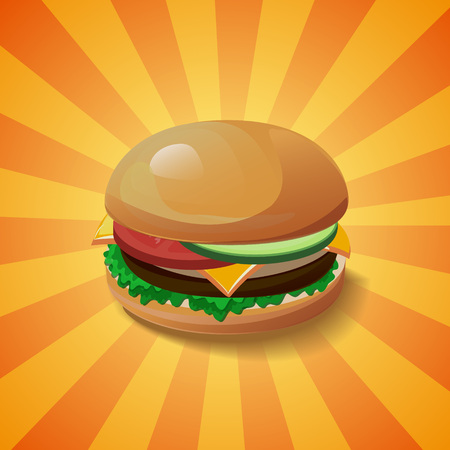 cartoon tomato: Hamburger vector concept. Design element for cafe and restaurant menu illustration, fast food poster or for logotype. 3d cartoon design of food. Diet and unhealthy eating habits illustration.